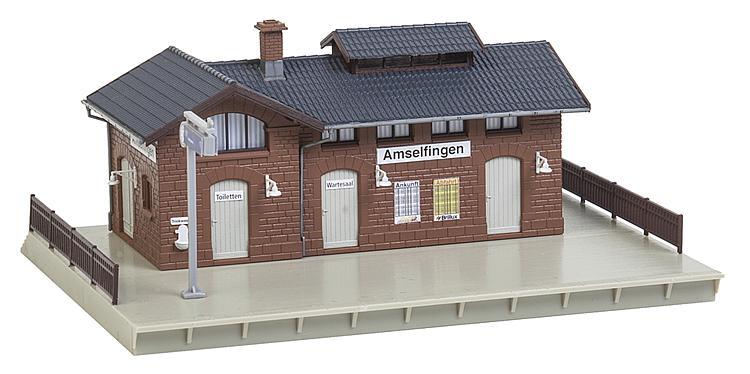 187x154x80 mm  Neu Faller H0  190277  Bahnhof-Set Amselfingen  Maße Haltepunkt